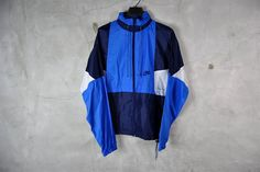 men's vintage, 1980's - 1990's NIKE hooded wind breaker jacket, navy blue, blue, white, large