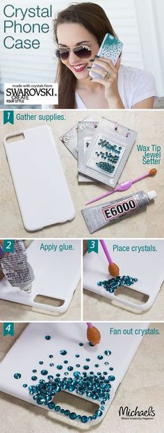 Add crystal bling to personalize a phone case for an easy DIY gift idea!