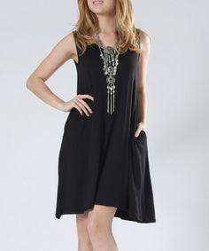Another great find on #zulily! Black Pocket Shift Dress #zulilyfinds