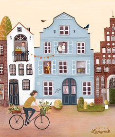 House Illustration, Travel Illustration, Watercolor Illustration, Watercolor Art, Posca Art, Watercolor Architecture, Bicycle Art, House Drawing, Background Pictures