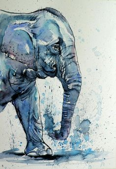Art Painting Still Life ARTFINDER: Elephant by Kovács Anna Brigitta - Watercolour with gold pigment. Original watercolour painting on high quality watercolour paper. I love landscapes, still life, nature and wildlife, lights . Image Elephant, Elephant Art, Water Color Elephant, Animal Paintings, Animal Drawings, Art Drawings, Elephant Paintings, Indian Paintings, Watercolor Animals