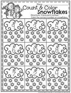 Count and Color Snowflakes - Preschool Math Worksheet for Winter. (Glue on snowflake sequins) Numbers Preschool, Preschool Themes, Kindergarten Worksheets, Math Activities, Preschool Activities, Christmas Worksheets, Preschool Winter, Counting, Classroom