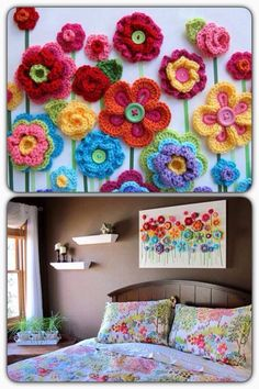 Cuadro con flores crochet