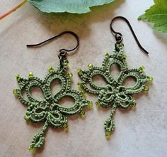Maple Leaf green tatted earrings