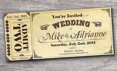 Hey, I found this really awesome Etsy listing at https://www.etsy.com/listing/112611238/vintage-western-ticket-save-the-date