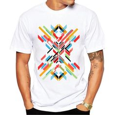 Men's Fashion-Print Short-Sleeve Casual T-Shirt S-3XL 4 Designs