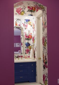 """Pretty in Pink: Bedroom Beautiful - Sharing today a fabulous, flirty and floral bedroom from Interior Designer: Caitlin Wilson. About Caitlin: """"I'm a passionate interior designer, wife, and m Wallpaper Decor, Bedroom Wallpaper, Bathroom Wallpaper Floral, Purple Wallpaper, Painting Wallpaper, Print Wallpaper, Wallpaper Ideas, Bathroom Inspiration, Bathroom Ideas"""