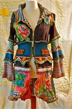 recycle sweater cardi. I love the colors on this! It reminds me of a jacket I saw at a craft fair that looked like it was hand dyed. Sooooooo cute!