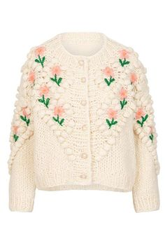 Pre Order Lily and Bean Chunky Cardigan Flowers and Pearls Chunky Cardigan, Pink Cardigan, Sweater Cardigan, Linen Skirt, Knit Fashion, Vintage Knitting, Sweater Weather, Knitwear, Vintage Fashion