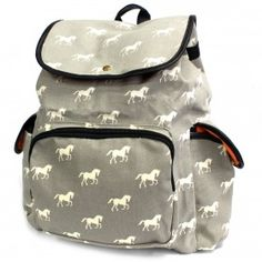 Traveler Backpacks - 2 Pocket Horses | Ancient Wisdom | Giftware Wholesale  Stylish grey backpack with white horses print has three external pockets for those small items and two internal pockets where one comes with a zipper. This backpack is very comfy and its good enough to carry all the school supplies.   #Wholesale_Bags #Wholesale_Backpacks #Traveller_Backpacks #Fashionable_Backpacks