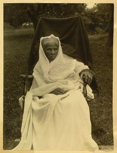 [Harriet Tubman, full-length portrait, seated in chair, facing front, probably at her home in Auburn, New York]. 1911. Illus. in: Scrapbooks of Elizabeth Smith Miller and Anne Fitzhugh Miller / Elizabeth Smith Miller. New York : Geneva, 1897-1911, section 16, no. 9, p. 47. National American Woman Suffrage Association Collection, Library of Congress.  Published in: American women : a Library of Congress guide for the study of women's history and culture in the United States / edited by…