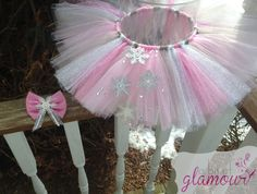 Pink Sparkly Snowflake Winter Wonderland Tutu with Matching Hair Bow / Handmade / Perfect for Photos! on Etsy, $35.05 AUD