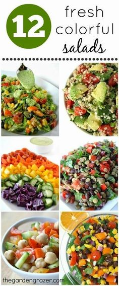 12 Fresh Colorful salads----Eat the rainbow! Something for everyone with colorful chopped salads, bean salads, quinoa salads, etc. Vegan and gluten-free, with simple homemade dressings. Great for packed lunches! Healthy Salads, Healthy Eating, Healthy Food, Comidas Light, Whole Food Recipes, Cooking Recipes, Vegetarian Recipes, Healthy Recipes, Eat The Rainbow