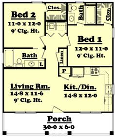 900 sf, 2 bed/2 bath.  Good basic floor plan but could use modifications -- like wrapping the porch around the side and adding french door access from the master bedroom.  Extra windows in LR and GBR would also be appropriate.