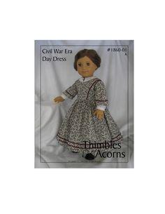 PDF Pattern for Civil War Era Day Dress 18 inch American Girl Doll. $8.95, via Etsy.