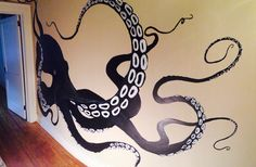 67 Super Ideas For Wall Murals Ocean Beach Houses Ocean Mural, Beach Mural, Octopus Decor, Octopus Art, Bathroom Mural, Octopus Bathroom, Bathroom Ideas, Beach House Decor, Beach Houses