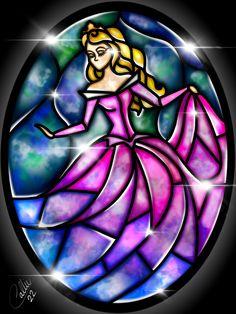 Stained Glass Sleeping Beauty by CallieClara.deviantart.com on @DeviantArt