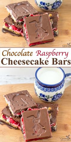 Take your dessert up a notch with the best easy No bake Cheesecake Bars! A simple recipe filled with graham crackers, cream cheese, fresh raspberry spread then sandwiched between Dark Chocolate bars using a fun Easter and Spring Themed mold! via @2creatememories