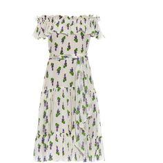 ISOLDA Santo Domnigo silk midi dress (48,550 INR) ❤ liked on Polyvore featuring dresses, white print, ruched dress, midi dress, print midi dress, off the shoulder boho dress and boho dress