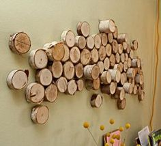 Wood circles design and texture for big wall