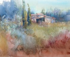 """""""In this unfinished pastel painting from the south of France, you can see the initial application of pastel to the area where the buildings are located. ~Richard McKinley. Read more in this Pastel Pointers article!"""