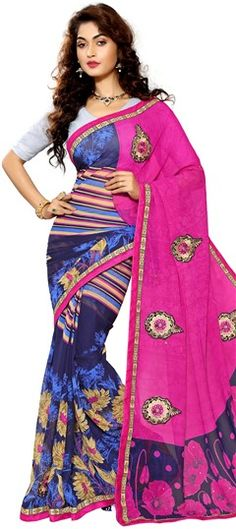 701911 Blue, Pink and Majenta  color family Embroidered Sarees, Party Wear Sarees, Printed Sarees in Faux Chiffon fabric with Lace, Machine Embroidery, Patch, Printed, Stone, Thread work   with matching unstitched blouse.