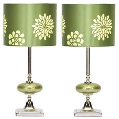 Aspire Home Accents 40112 Wyman Table Lamp (Set of 2) Green / Silver Lamps Lamp Sets Table Lamps
