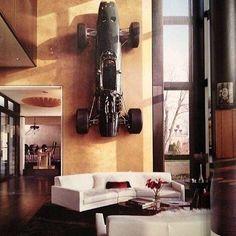 Car on the wall something new everyday!  #firstclassmancave #pooltable #gaming #gamer #gamingsetup #gameroom #interior #design #interiordesign #mancave #playstation #xbox #sega #nintendo #starwars #hometheater #homecinema #house #home #vintage #videogames