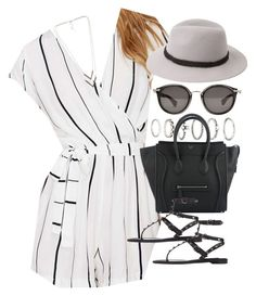 outfit with a playsuit by im-emma on Polyvore featuring Faithfull, Valentino, Forever 21, NLY Accessories and Moncler