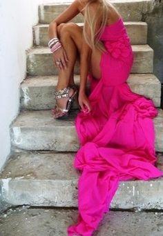 walkingthruafog:  Hot pink dress