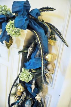 Royal Blue Corner Design Beneva Flowers is proud to be the house florist of the Ritz- Carlton: Sarasota. This year's Christmas decor featured gold, navy and green. #Sarasota