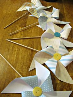 Cute as a button, pinwheels for baby shower