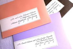 Calligraphy Wrap Around Labels for Colored Envelopes by EllasPaper