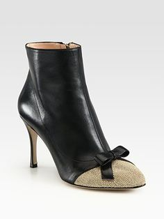Valentino Studded Suede and Leather Ankle Boots
