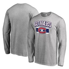 Montreal Canadiens Fanatics Branded Big & Tall Hometown Collection Go Habs Long Sleeve T-Shirt - Ash