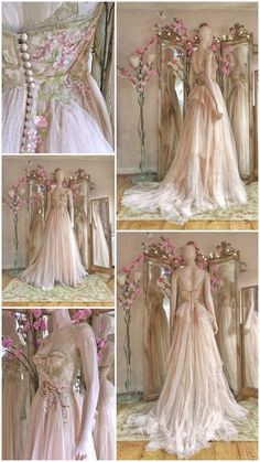 blush tulle wedding dress with cherry blossom embroidery by Joanne Fleming Desig. - blush tulle wedding dress with cherry blossom embroidery by Joanne Fleming Design Source by Just_a_dumb_grl - Fairytale Dress, Fairy Dress, Princess Fairytale, Vestidos Vintage, Vintage Dresses, Fantasy Gowns, Embroidery Dress, Wedding Embroidery, Beautiful Gowns