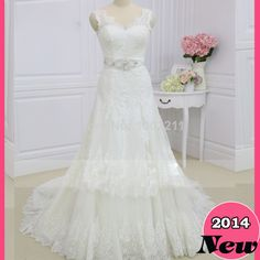 2014 Real photos A Line Wedding Dresses V Neck  Lace Up Back  and Beaded Belt China Free Shipping   Train Wedding Dresses   US $219.99