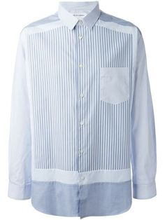 comme des garcons panelled striped shirt