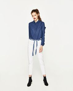 ZARA - SALE - DENIM SHIRT WITH FRILLED SLEEVES