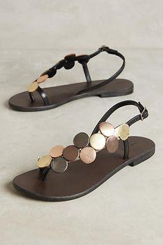Anthropologie Celinda Metallic Sandals