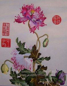 hand embroidered silk art, silk embroidery painting, handmade embroidery