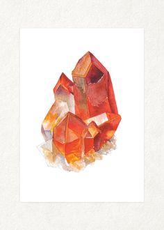 "Orange Quarz Cluster - 5 ""x 7"" Aquarell Kunstdruck 0010"