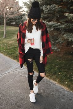 Cyber Monday Deals | Hello Fashion. White long sleeved tee+black ripped denim+white sneakers+black and red plaid coat+black beanie. Fall Casual Outfit 2016