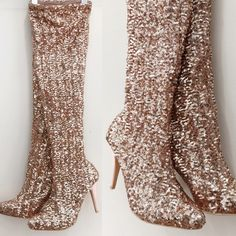 "Lauren Lorraine rose gold sequined boots that can be worn over the knee, under the knee, or scrunched down at the ankle! They slide on with ease, with a lining that's like a legging. Size 8. Approx. 4"" heel, 19"" shaft height, 13"" opening. NWT! Bought for an event, but recovering from an injury and won't be able to wear heels by then! Price is 100% firm, because if I can't sell for close to what I paid I will just return (just thought they were a fun posh find!). No PP, trades, or holds."