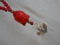 Perlen-Kette Rot/Grau mit Buddha, Herz und Om
