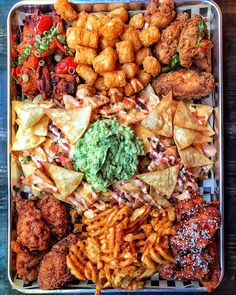 THIS is Super Bowl Heaven! Jam-packed with Thai Chili Wings Salt & Pepper Wings Soy Garlic Wings Sesame Chicken Wings Nachos Tater Tots & Waffle Fries. Pair this with beers for each hand and you my friend have just WON LIFE! Thai Chili, Party Food Platters, Snack Platter, Meat Platter, Food Porn, Cooking Recipes, Healthy Recipes, Healthy Treats, Food Goals