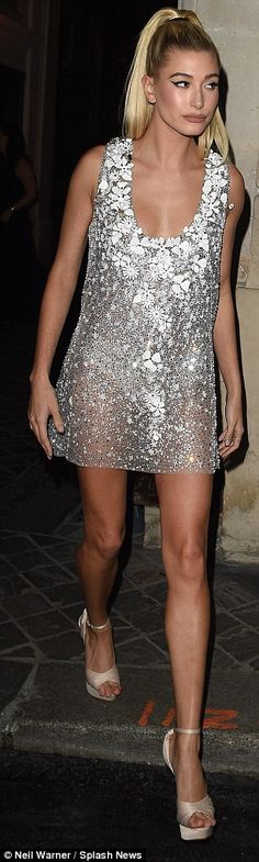 Sheer delight:Meanwhile, model pal Hailey worked a daring sheer silver mini dress for the glamorous dinner