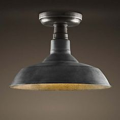 Old Black Single Light Semi Flush Mount Ceiling Light in Warehouse Shape