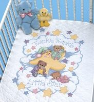 Twinkle Twinkle Stamped Cross Stitch Quilt Kit - Click to enlarge