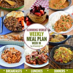 Slimming Eats Weekly Meal Plan – Week 18 - taking the work out of planning, so that you can just cook and enjoy the food. slimming world diet plan Extra Easy Slimming World, Slimming World Recipes Syn Free, Slimming World Diet, Slimming Eats, Healthy Meal Prep, Healthy Eating, Healthy Recipes, Clean Eating, Weekly Recipes